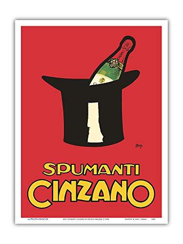 Pacifica Island Art - Asti Spumanti Cinzano - Italian Sparkling Wine - Vintage Advertising Poster by Achille Mauzan c.1950s - Master Art Print - 9in x 12in
