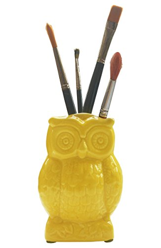 Stock clearance sale - Yellow Ceramic Owl Pen Pencil Holder / Cooking Utensil Crock / Multipurpose Storage / Decorative Piece (Yellow) (Owl Crock Utensil)