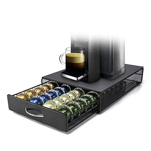 Vertuoline Capsule Holder HiveNets Coffee Machine Stand Metal Storage Drawer Dispenser Compatible for Nespresso Vertuo/Vertuoplus 40 PCS Capacity Multiple Flavors Pods Organizer Black (Keurig 2 Pc K Cup Storage Dispenser)