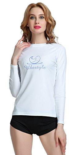 Ubestyle Wetsuits UV Sun Protection Womens Basic Skins Long Sleeve Crew Sun Shirt Rash Guard (S, White) (Basic Long Sleeve Lycra Shirt)