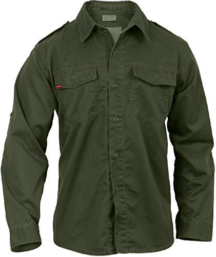 Mens Olive Drab Long Sleeve Washed Vintage Style Paratrooper Fatigue Shirt