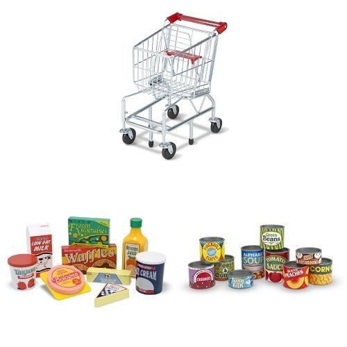 Melissa & Doug Shopping Cart, Fridge Food & Cans Bundle