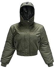 Women's Workout Hooded Bomber Jacket Chic Fashion Windbreaker Long Sleeve Short Down Coats