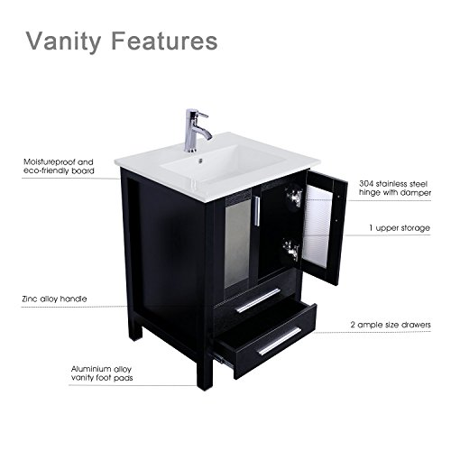 BLACK 24-inch Bathroom Vanity Suite Sink Top Ceramic Combo with Overflow White Drop In Ceramic Sink Top /& White MDF Modern Bathroom Cabinet /& Chrome Solid Brass Faucet and Pop Up Drain with Mirror