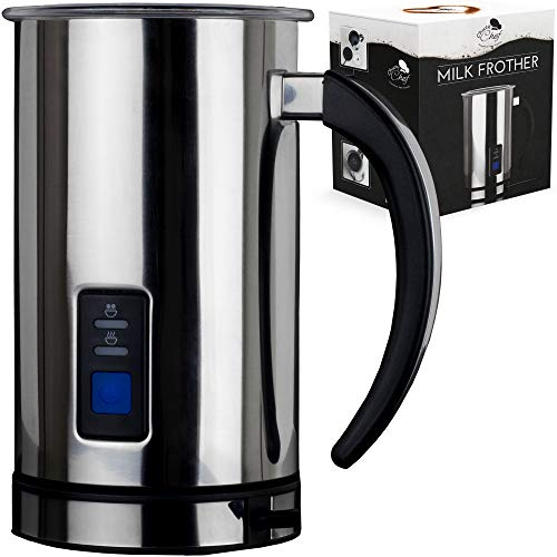 Electric Milk Frother Steamer Milk Warmer - Electric Milk Frother and Warmer Machine Milk Foamer Heater Steamer Coffee Hot Chocolate Latte Frother Stainless Steel Automatic Frothing