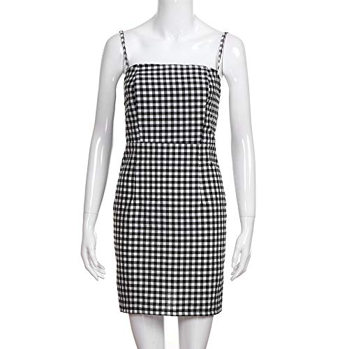 Women Summer Dress,Ladies Backless Plaid Printed Strap Sleeveless Party Sexy Mini Dresses (XL, Black) by Woaills-Tops (Image #6)