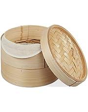 Relaxdays Bambuångkokare, asiatisk ångkorg med 2 våningar, för dim sum, ris, ångkokarinsats, Ø 20,5 cm, naturlig
