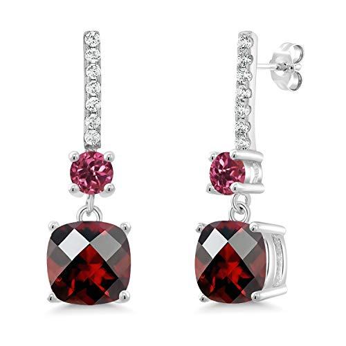 Gem Stone King 5.71 Ct Cushion Checkerboard Red Garnet Pink Tourmaline 925 Silver Earrings