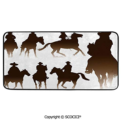 (Rectangle Rugs for Bedside Fall Safety, Picnic, Art Project, Play Time, Crafts, Large Protective Mat, Thick Carpet,Western,Collection of Horseback Riding Silhouettes Bridle Ranch,39