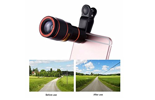 ixaer Mobile Phone Lens Camera Lens Wide Angle Lens with Clip-On Cell Phone Camera Lenses for iPhone 7 6 5, Android, Samsung Mobile Smartphone