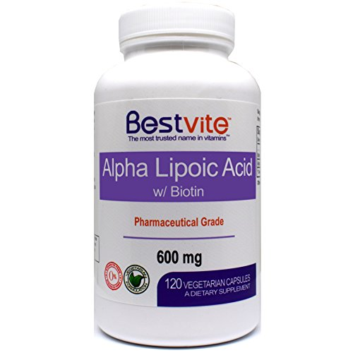 Acid Biotin - Alpha Lipoic Acid 600mg (per capsule) with Biotin to Enhance Absorption (120 Vegetarian Capsules) No Fillers - No Stearates - No Flow Agents