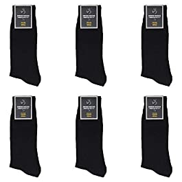 Proactiv Mens Classic Ribbed Crew Dress Socks (6 Pairs) (Black), Sock Size 10-13 Shoe Size 8-12