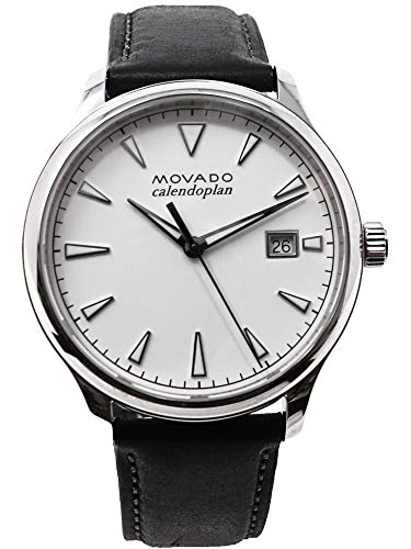 Movado Men's Stainless Steel Swiss-Quartz Watch with Leather Strap, Black, 20 (Model: 3650002