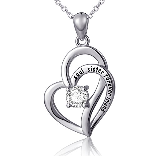 925 Sterling Silver Soul Sister Forever Friend Love Pendant Necklace for Women, 18