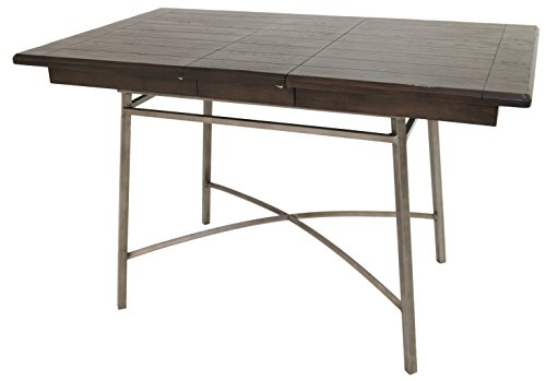 Impacterra Wilshire Counter Height Rectangular Gathering Table, Rustic Silver/Ebony