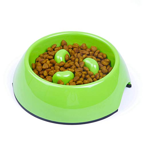 SUPER DESIGN Heavy Duty Melamine Non-skid Slow Feed Pet Bowl For Dogs and Cats S Green