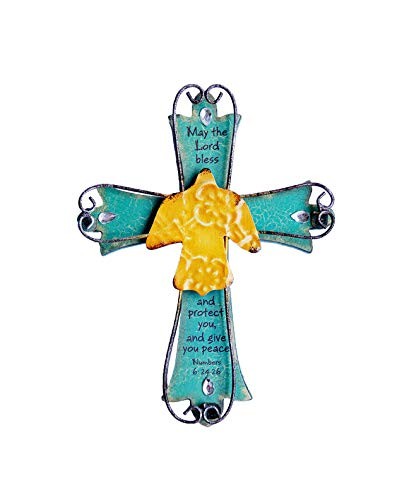 Sell4Style Unique Wooden Crucifix with Antiqued Metal Decorative Dove and Inspirational Prayer Inscribed On Cross Dove (Design 2) ()