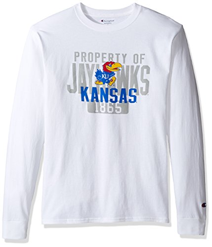 (Champion NCAA Men's Long Sleeve Lightweight T-shirt Officially Licensed 100% Cotton Tagless Tee Kansas Jayhawks Large)