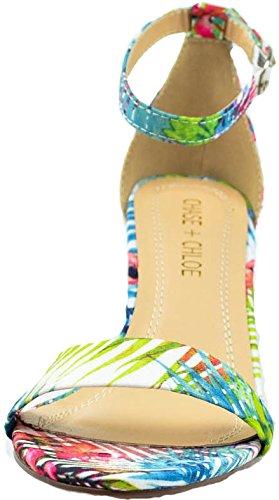 Chase & Chloe Kira-1 Sandalo Con Tacco Basso Con Cinturino Con Fibbia Alla Caviglia Coperta Floreale