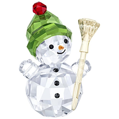 Swarovski Snowman with Broom Stick Christmas Holiday Figurine, Red/Green/Clear Crystal