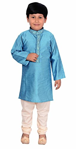 Boys Indian Exclusive Sherwani Kurta with pajama for EID & Bollywood theme kids party wear Outfit 911 (1 (1 yrs), Turquoise) by Desi Sarees