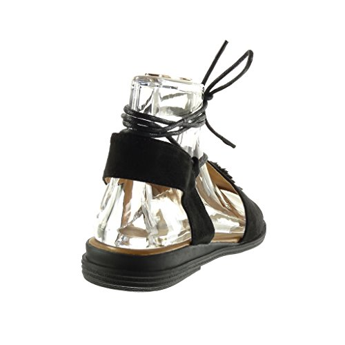 Fleurs Talon Angkorly cm Lanière Femme Ouverte Bloc Noir 2 Mode Chaussure Spartiates Sandale xPFgrw08qF