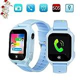 Kids Phone Smart Watch, GPS Tracker Smart Watches for Children Girls Boys 1.44inch Touch Screen Camera Waterproof SOS Smart Cell Phone Watch(Blue)