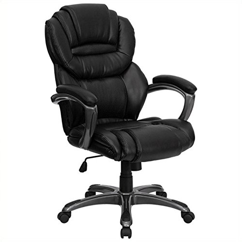 Scranton & Co High Back Office Chair with Leather Padded Loop Arms (Leather Padded Loop Arms)