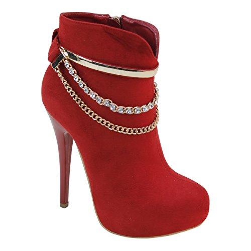 Nye Brieten Kvinners Rhinestone Kjede Stiletto Plattform Ankel Boots Red