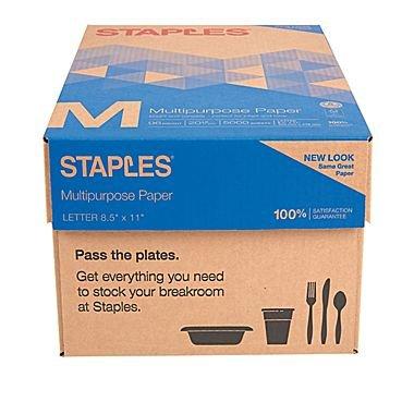 """Staples Multipurpose Inkjet & Laser Paper, 8.5 X 11"""", 5000 Sheets"""
