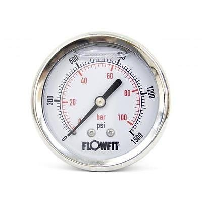 63mm Glycerine Filled Hydraulic pressure gauge 0-1500 PSI (100 BAR) 1/4' bsp rear entry Flowfit