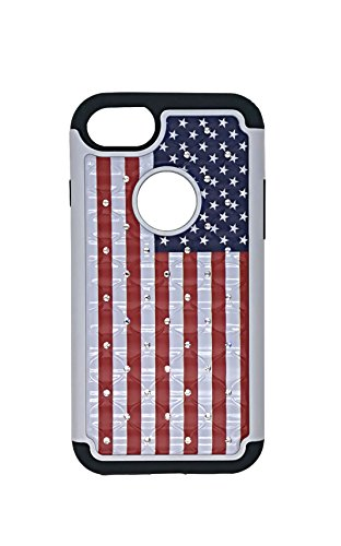 iPhone 7/iPhone 8 Case,USA American Flag Studded Rhinestone Bling Hybrid Dual-Layer Shock Absorption Anti Scratch Protective Case Cover for iPhone 7/iPhone - Studded Flag