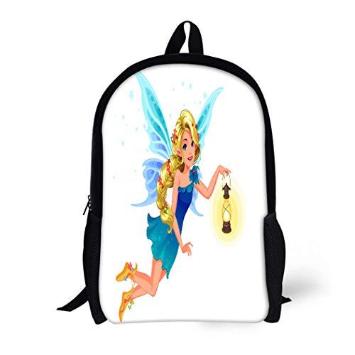 (Pinbeam Backpack Travel Daypack Beautiful Blonde Blue Wing Fairy Long Braided Hairstyle Waterproof School Bag)
