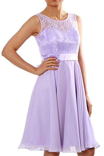 MACloth Cocktail Short Dress Party Chiffon Bridesmaid Women Gown Lavendel Formal Lace rnaqWw1Zr