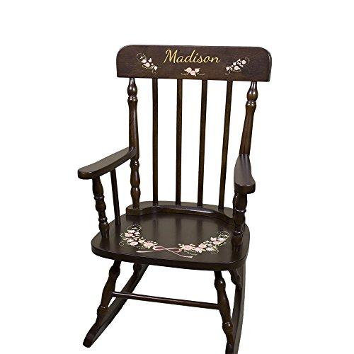 Personalized Espresso Garland Flower Rocking Chair by MyBambino