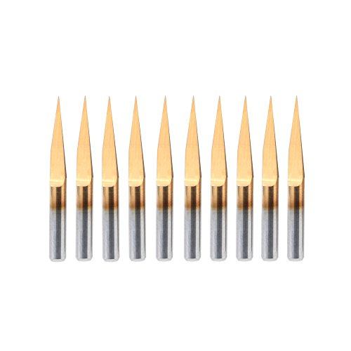 HQMaster 10 Degree 0.1mm Tip Titanium Coated Flat Bottom Carbide PCB Engraving Bits V-shape CNC Router Cutter Cutting Tool Tungsten Steel, Pack of 10
