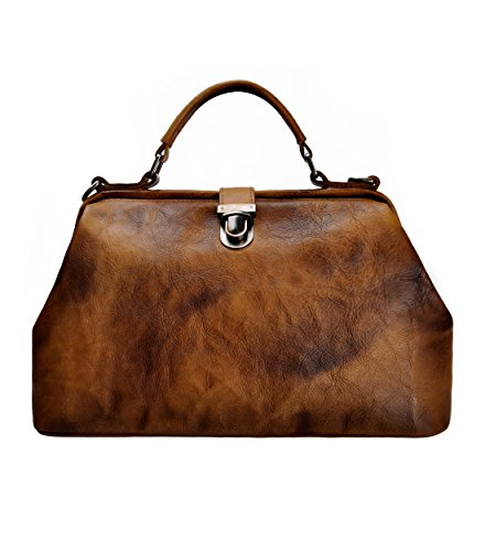 ZLYC Women Retro Vintage Genuine Leather Doctor Top Handle Cross Body Bag, Brown - Genuine Leather Doctor Style Handbag