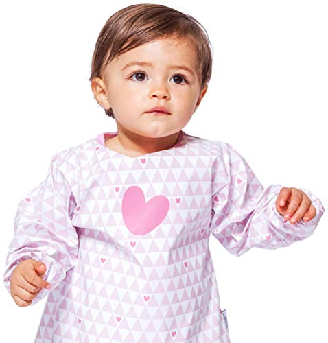 Baby-To-Love Smock, Sleeved Bib, Bapron Baby Bib, Kids Paint Smock, Girl 5-20mo (Pink Heart) - Sleeve Smock Dress