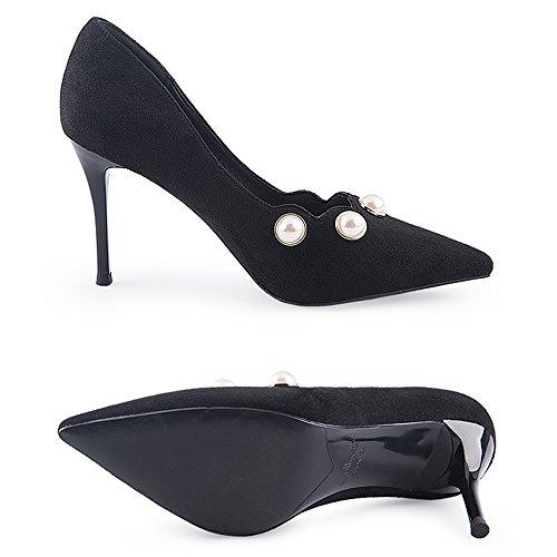 Tamaño cn38 Fashion Bajo Tacón 5 Negro Sandalias Mujer Eu38 uk5 color Y Feifei Alto Pearl De Bajo Cómodos Lace Zapatos 9cm Negro Sueltos Tqq1vwRI
