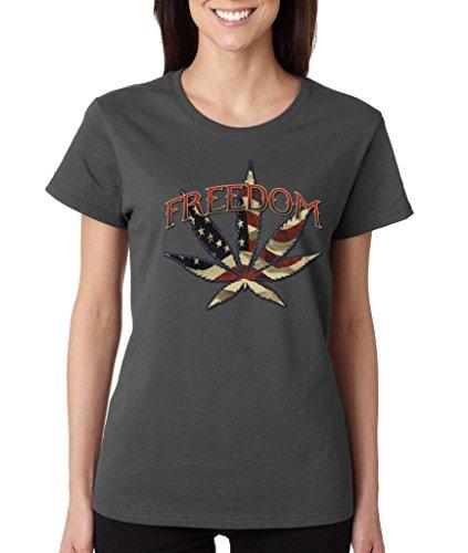 Freedom Pot Leaf USA Flag Ladies T-Shirt 420 Day High Street Shirts Medium Charcoal wr 5