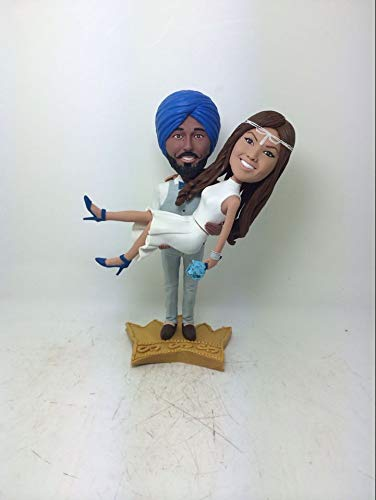 (Indian Groom Bride Personalized Wedding Cake Topper Bobble Head Clay Figurine Based on Customers' Photos Traditional Indian Wedding Topper)