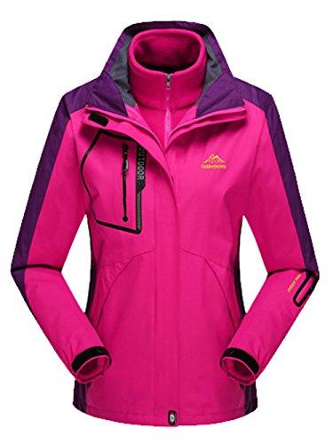 Lottaway Detachable Fleece Waterproof Outdoor Snow Ski-wear Climbing Parka Coat Rosy 4XL For Women by Lottaway®