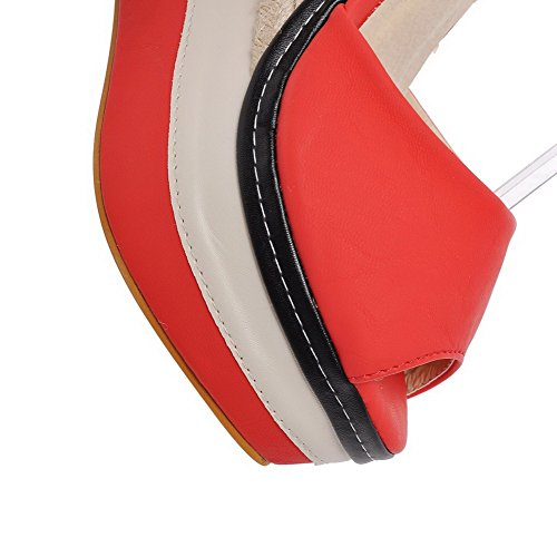 Buckle Red Toe Peep Womens Heels High AllhqFashion Pu Solid Sandals ARxtqp6