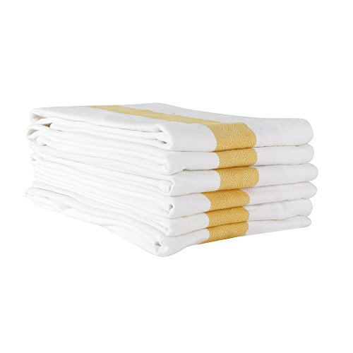 White Cotton Kitchen Dish Towels with Yellow Stripe in Herringbone Weave