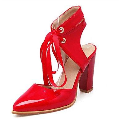 LFNLYX Tacones mujer Primavera Verano Otoño Comfort Novedad Charol Materiales personalizados Vestido de Boda Fiesta Informal y la noche Chunky talón Red
