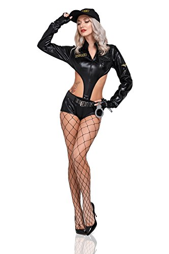 Women Sexy Cop Romper Costume Secret Police Agent Vinyl Bodysuit Adult Role Play (Black) - Sexy Adult Detective Costumes