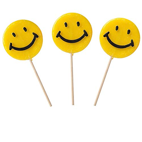 Happy Smiley Face Yellow Lollipops, 1.5 oz - 6 count box -