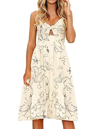 FANCYINN Womens Floral Prints Tie Front Button Down Spaghetti Strap Midi Dress Apricot L