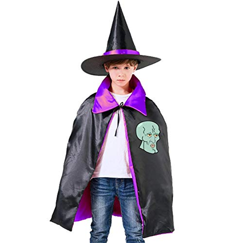 Handsome Squidward Halloween Costumes Witch Wizard Cloak With Hat For Christmas Halloween Cosplay Boys Girls Purple