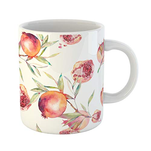 Emvency Coffee Tea Mug Gift 11 Ounces Funny Ceramic Watercolor Pomegranate Botanical Fruit Tree Branches Ripe and Its Half Seeds Gifts For Family Friends Coworkers Boss ()